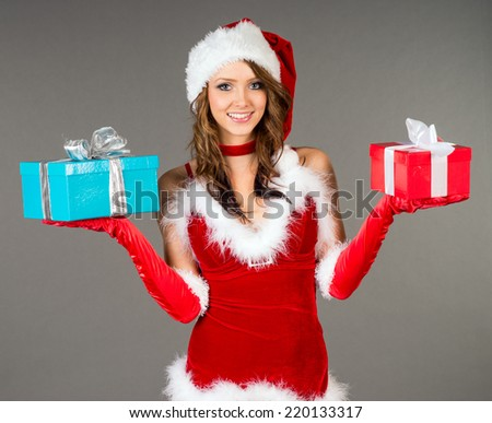 pretty woman with Christmas presents / Christmas - stock photo