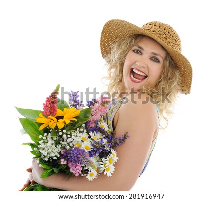 pretty woman with flowers - stock photo