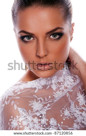 pretty woman with lace - stock photo