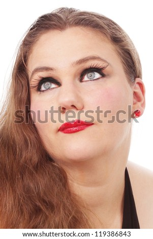 Pretty woman with long hair - stock photo