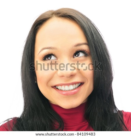Pretty woman with long straight brown hair looking away, isolated on white background - stock photo