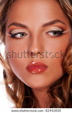 pretty woman with pretty eyes - stock photo