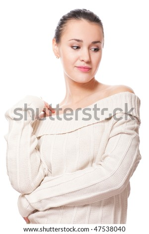 pretty young adult wearing warm sweater on white - stock photo