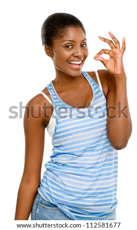 Pretty Young African AMerican Woman okay sign isolated on white background - stock photo