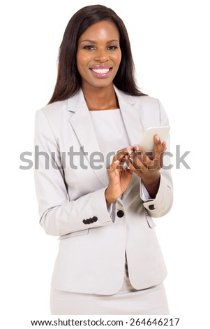 pretty young african businesswoman holding smart phone isolated on white - stock photo