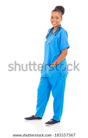 pretty young african nurse full length portrait isolated on white background - stock photo