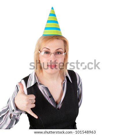 pretty young blond business woman in the birthday cap inviting to drink alcohol - stock photo