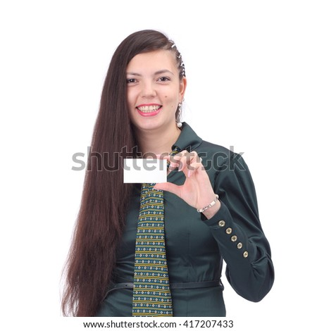 pretty young business woman with the business card - stock photo