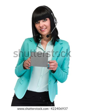 Pretty young call center worker wearing a headset and holding blank sign board - stock photo