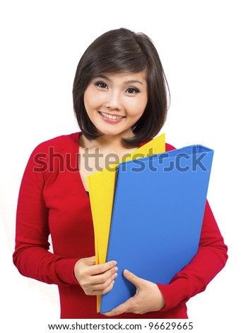 pretty young college student bring folder - stock photo