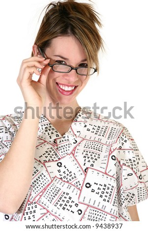 Pretty young female eye doctor dressed in white scrubs with black lettering. Ophthalmology Ophthalmologist - stock photo