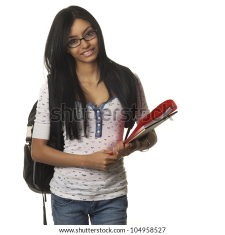 Pretty young female student with backpack and schools college supplies smiling.  Image isolated against white background, - stock photo