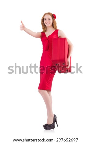 Pretty young girl in red dress holding trunk isolated on white - stock photo