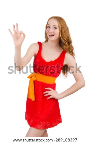 Pretty young girl in red dress isolated on white - stock photo