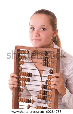 Pretty young girl posing with old-fashion wooden abacus, isolated on white - stock photo