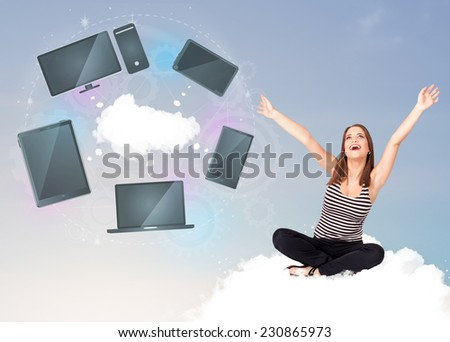 Pretty young girl sitting on cloud enjoying cloud network service - stock photo