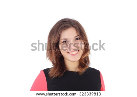pretty young girl smiling closeup - stock photo