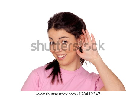 Pretty young girl touching her ear isolated on white background - stock photo