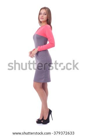 pretty young girl wearing beautiful dress - stock photo