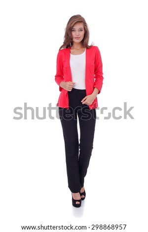 pretty young girl wearing black trousers and red jacket - stock photo