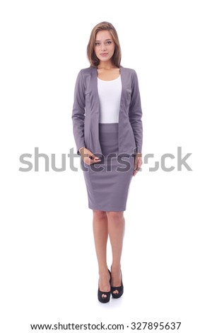 pretty young girl wearing office skirt and jacket - stock photo