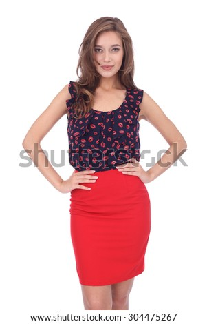 pretty young girl wearing red skirt and lips printed top - stock photo
