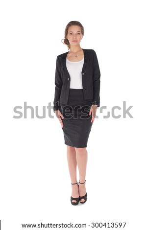 pretty young girl wearing the office costume - stock photo