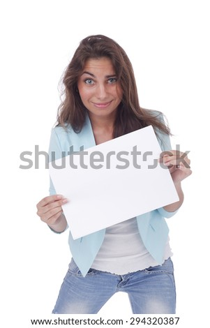 pretty young girl with the blank sheet of paper - stock photo