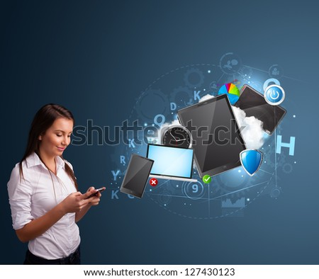 Pretty young lady browsing on her smartphone - stock photo