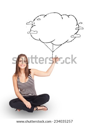 Pretty young lady holding cloud balloon drawing - stock photo