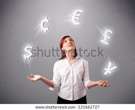 pretty young lady standing and juggling with currency icons - stock photo