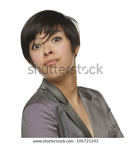 Pretty Young Mixed Race Female Making a Silly Face Isolated on a White Background. - stock photo