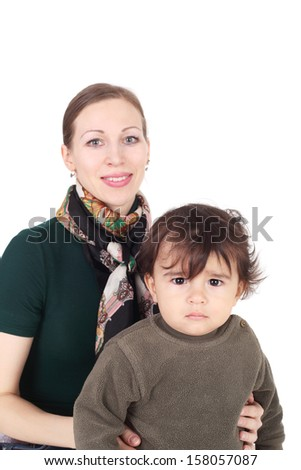 pretty young mother with her cute sweet little baby - stock photo