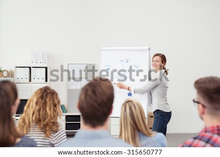 Pretty Young Team Leader Explaining Something on Poster Paper to her Colleagues Inside the Office. - stock photo