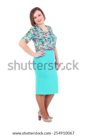 pretty young woman demonstrating a costume - stock photo