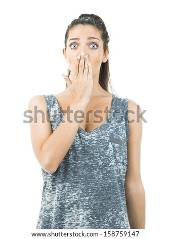 pretty young woman in funny expression no words - stock photo
