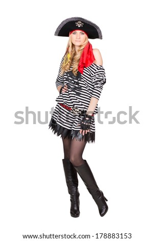 Pretty young woman in striped singlet wearing like pirates. Isolated on white - stock photo