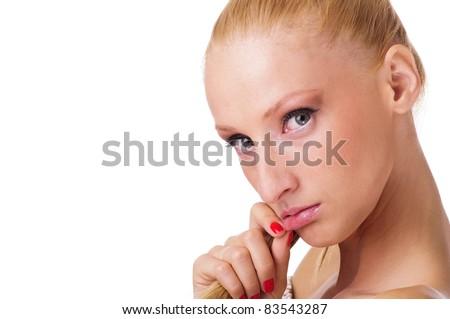 pretty young woman posing sad - stock photo