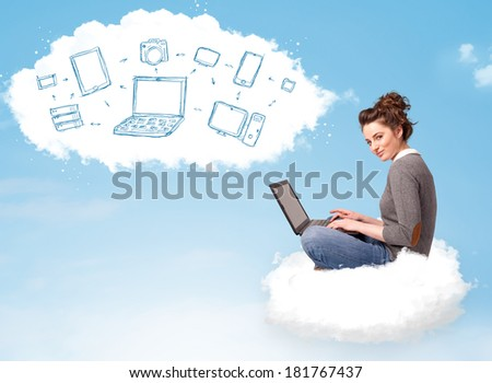 Pretty young woman sitting in cloud with laptop, cloud computing concept - stock photo