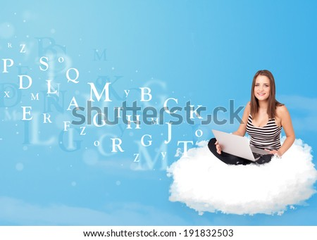 Pretty young woman sitting in cloud with laptop, letters concept - stock photo