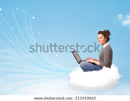 Pretty young woman sitting in cloud with laptop, lines concept - stock photo