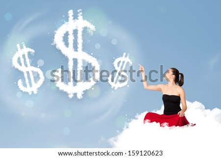 Pretty young woman sitting on cloud next to cloud dollar signs - stock photo