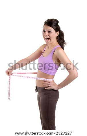 Pretty Young Woman Teasing With A Tape Measure, Isolated - stock photo