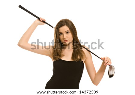 Pretty young woman with a golf club isolated on white background - stock photo