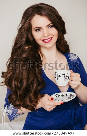 pretty young woman with beautiful hair chic - stock photo