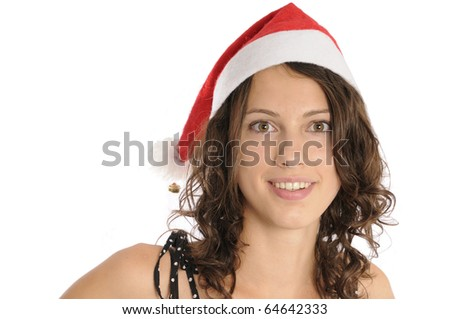 Pretty young woman with santa hat isolated on white background - stock photo