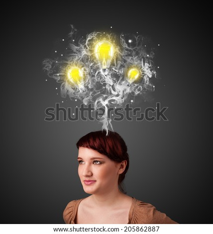 Pretty young woman with smoke and lightbulbs above her head - stock photo