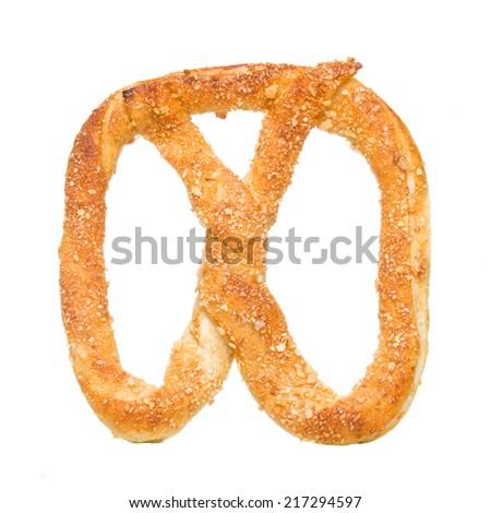 pretzel bakery isolated on white background. - stock photo