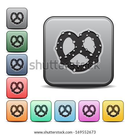 Pretzel Icon Square Icon Set with Color Variations.  Raster version. - stock photo
