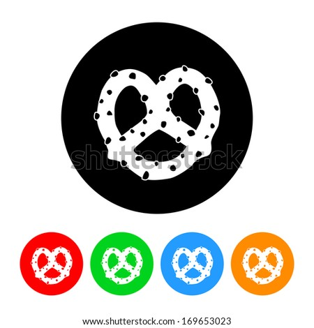 Pretzel Icon with Color Variations.  Raster version. - stock photo